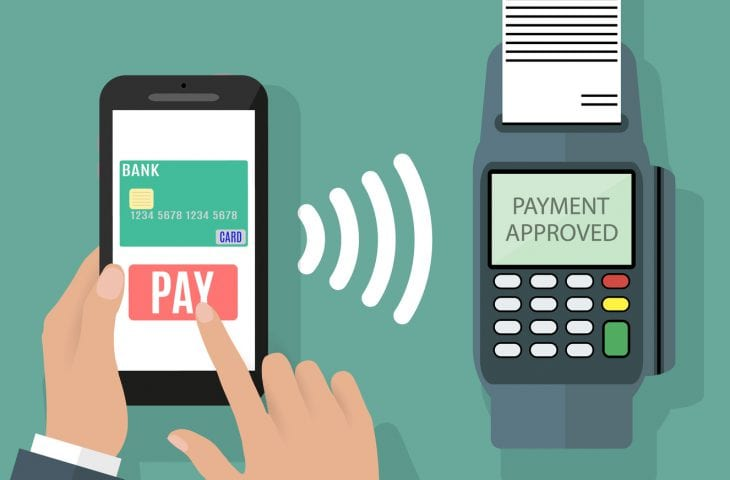 Pos terminal confirms the payment by smartphone. Vector illustration in flat design on green background. nfc payments concept