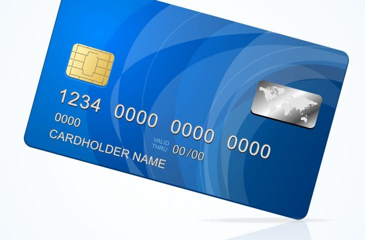 Vector Credit Card blue icon Isolated on white