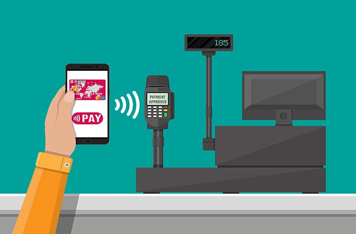 Pos terminal confirms payment by smartphone. Supermarket interior. Cashier counter workplace. Cash register and keypad. Vector illustration in flat style