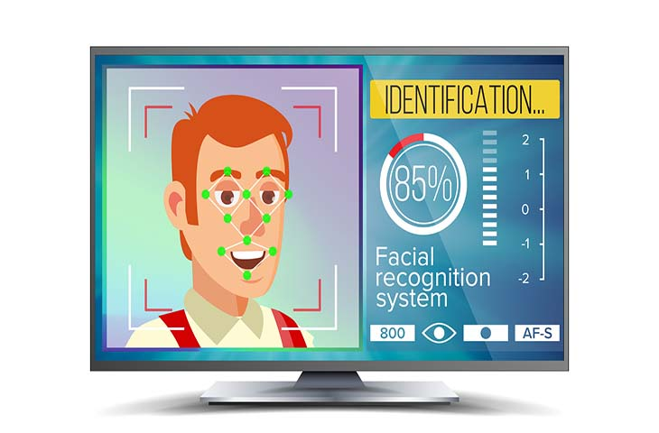 Face Recognition And Identification Vector. Face Recognition Technology. Face On Screen. Human Face With Polygons And Points. Scanning Security Illustration
