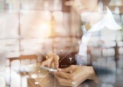 Asian businessman with digital app