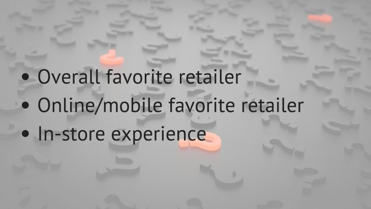 overall favorite, online/mobile favorite, or in-store rankings