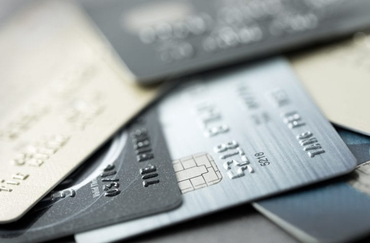 Close up of credit card forming background
