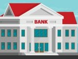 Bank building in city space. Flat vector.